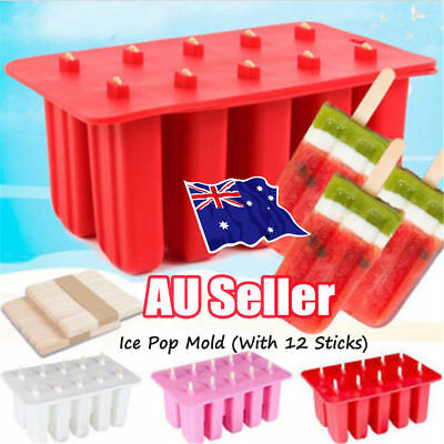 10 Frozen Ice Cream Silicone Mold Popsicle Yogurt Icebox Mould 12 Sticks Lid ON