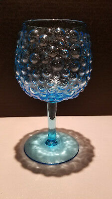 Hobnail Electric Blue Balloon Wine Goblet