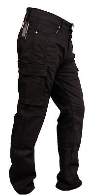 MOTORCYCLE JEANS TWILL CARGO PANTS REINFORCED WITH DuPont™ KEVLAR® BLACK