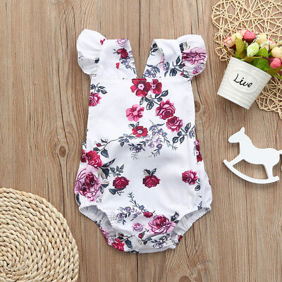 Newborn Toddler Baby Girl Romper Floral Bodysuit Ruffle Jumpsuit Outfits Sunsuit