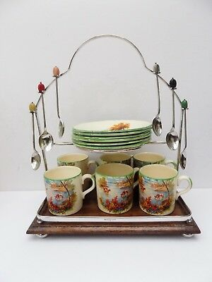 1930's CATTLE SCENES COFFEE CUPS & SAUCERS ON STAND WITH COFFEE BEAN SPOONS