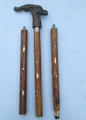 "Vintage 37"" Antique Head Handle Brown Wooden Walking Cane Stick Replica Item"