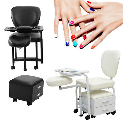 UK Portable Moving Manicure Pedicure Nail Station Salon Chair Massage Stool Care
