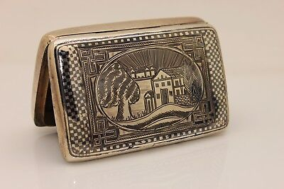 Antique Original Silver Niello Amazing Armanian Ottoman Cigarette Case