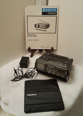 vintage sanyo radio mini tv tpm 1000a works vhf uhf portable rare am rh picclick com