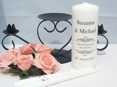 Personalised Wedding Unity Candles The One my Soul loves (with/without holder)