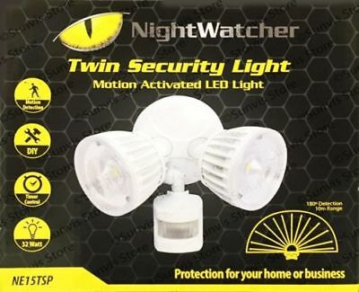 NEW NightWatcher Twin Head Security Motion Activated LED Light NE15TSP inc VAT