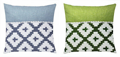 Aztec Check Print Cushion Cover White Lace Decoration 17 x 17 inch for Sofa Bed
