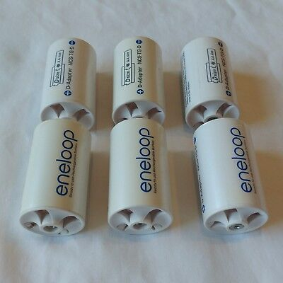 Lot of 6 Sanyo Eneloop Battery AA to D Adaptor Spacer Case Model NCS-TG-D