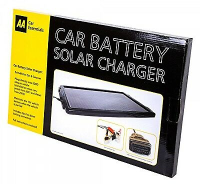AA Solar-Powered Car Battery Charger Cars Caravans EOBD Socket UK