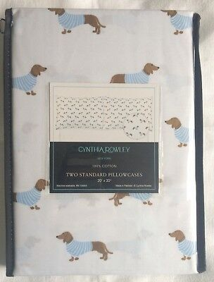 Cynthia Rowley Dachshund Wiener Cotton Pillowcase Set NEW Doxies in Sweaters