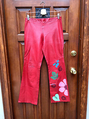 Vintage 70's Women's Mod Hippie Flower-Power Red Leather slight Bell Pants~Sz. M