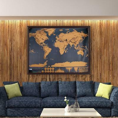 Scratch Off World Map Learn Deluxe Large Travel Wall Poster Home 82 x59 Cm