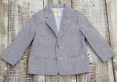 Crazy 8 Boys Sz 2-3 White Gray Striped Blazer Sports Jacket - Worn Once