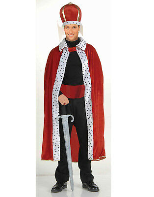 Mens Adult Red Deluxe Knight Royal King Robe & Crown Halloween Costume Set