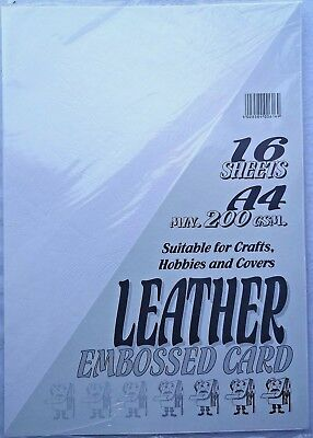 32 Sheets A4 Cream Leather Embossed Card 200 gsm NEW