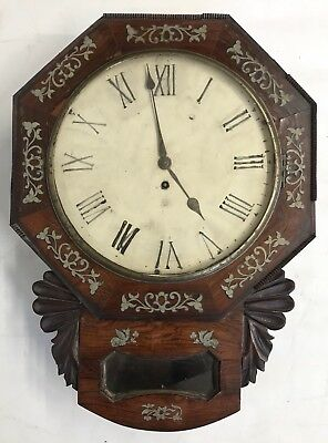Lovely Antique Inlaid Rosewood Drop Dial Fusee Wall Clock With Cast Bezel