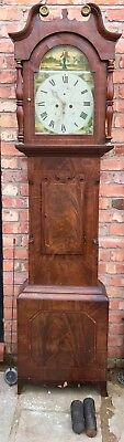 Lovely Antique Long Case Grandfather Clock Mahogany 8 Day 'Going To Market'