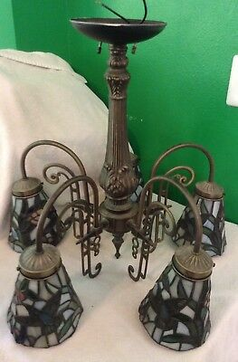 Gorgeous Leaded Glass Stained Glass 5 Arm Deco Inspired Chandelier w/Hummingbird