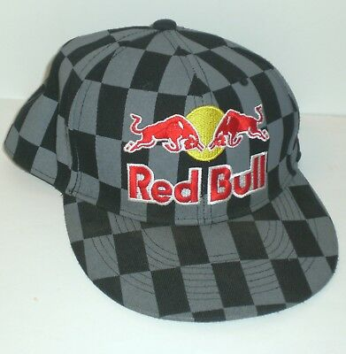 cab0a6fe5e585 Red Bull Athlete Only Hat New Era Checkered Fitted Cap 59Fifty Size 7 Blue  Gray