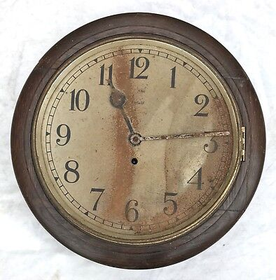 Lovely Enfield Roynd Dial School Railway Wall Clock With Pendulum And Key