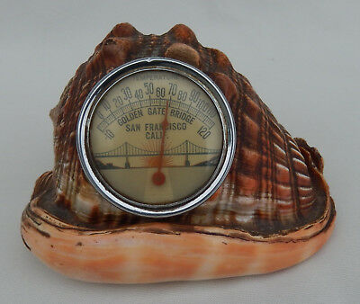 Vtg. Golden Gate Bridge San Francisco Room Thermometer set in a Conch Shell