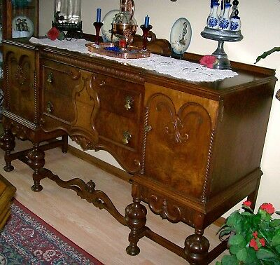 Antique Carved Wood Buffet Sideboard Server Storage Cabinet TV Console