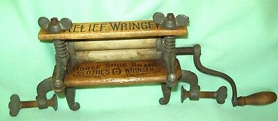 Antique HORSE SHOE BRAND Salesman Sample RELIEF clothes WRINGER   FOR FAMILY USE