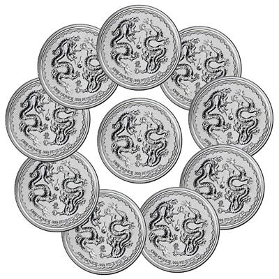 Lot of 10 - 2018 Niue 1 oz Silver Double Dragon Pearl Wisdom $2 Gem BU SKU53655