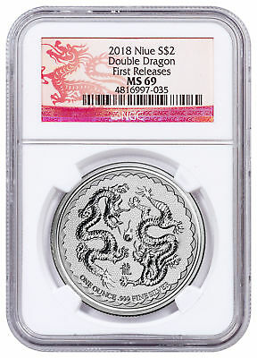 2018 Niue 1 oz Silver Double Dragon Pearl of Wisdom $2 Coin NGC MS69 FR SKU53658