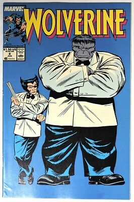 S895. WOLVERINE #8 by Marvel 7.5 VF- (1989) CLASSIC HULK Crossover & Cover
