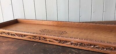 Antique Carved Wooden Long Tray Dragons Initials MLJ Tea Cocktail Display Stand