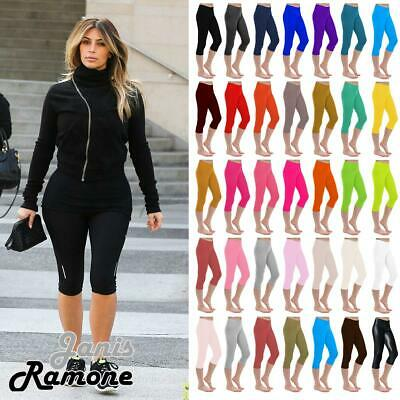New Womens Plain 3/4 Length Leggings Workout Gym Cropped Yoga Active Capri Pants