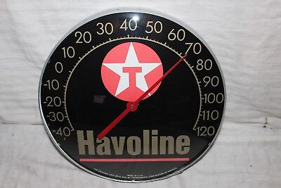 "Vintage Texaco Havoline Motor Oil Gas Station 12"" Metal Thermometer Sign~Works"