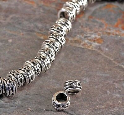 Lot of 20 Pieces Tibetan Silver Antique Silver Tone 7mm Rondelle Beads Hole 3.5