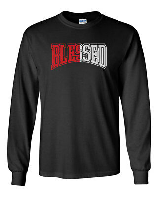 c764249836b Blessed Men's Long Sleeve T-Shirt Tee Jordan 1 Retro Homage To Home New -