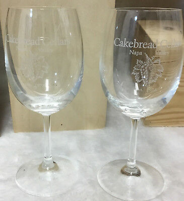Cakebread Cellars Stemmed 2 Wine Glass Napa California Winery Glasses 7""