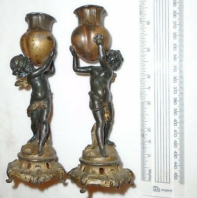 Antique French 19th Century Cherub Putti Candlesticks High Quality Details