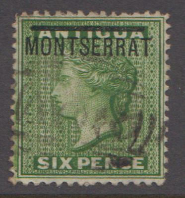Montserrat. 1876 6 Pence From the the first issue. Sc. #2 SG #2. Used