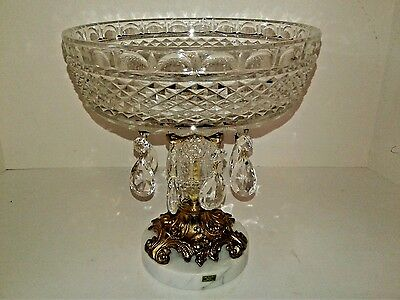"Vintage Compote Glass Crystal Marble Base & Prisms 9"" Italy"