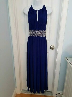 Beautiful long formal dress. Royal blue with beaded waistband. Size 10 petite.