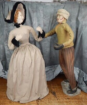 "Massive 36"" (Paper/cloth) Papier Mache Winter Scene Man &Woman c 1900 Store Disp"