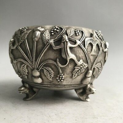 Old China tibetan silver hand carved frog bird flower anima incense burner