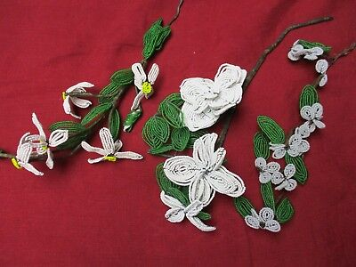 Vintage White French Glass Beaded Flower Bouquet 3 stems 17 Flowers & buds