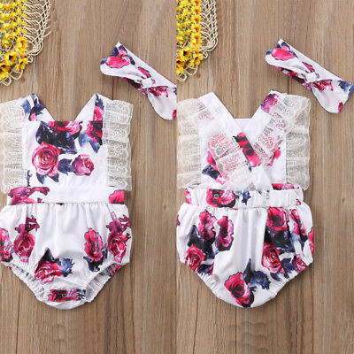 USA 2Pcs Newborn Toddler Baby Girl Clothes Lace Floral Romper Bodysuit Outfits