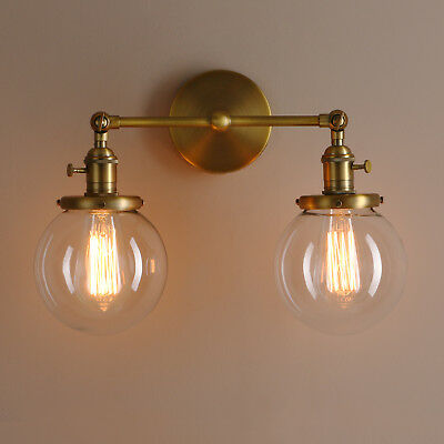 """5.9"""" Vintage Sconce Industrial Metal Light Twins Glass Clear Globe Wall Lamp"""
