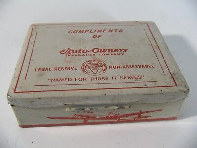 Vintage First Aid Kit Tin Prop Plane w/Supplies Compliments of Auto-Owners Ins.
