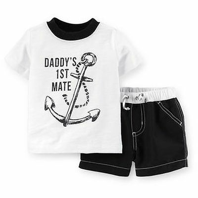 New Carter's 2 Piece Swimsuit Set Top & Bottom 18m NWT Daddy's 1st Mate Boys