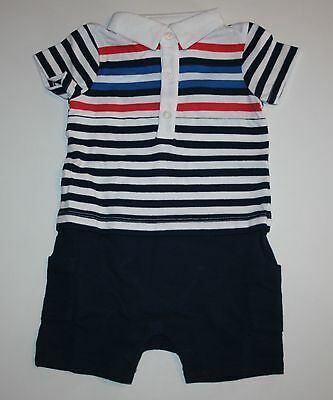 New Gymboree Striped Polo Style One Piece Romper Size 0-3m NWT Gazebo Party Line