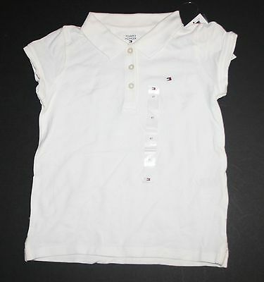 New Tommy Hilfiger Polo Style Girls White Tee Top Shirt Size 4T NWT Button Front